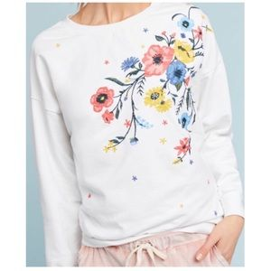 Anthropologie Sundry Floral Embroidered Sweater